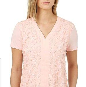 Badgley Mischka Women's 3D Flower Short sleeve Top